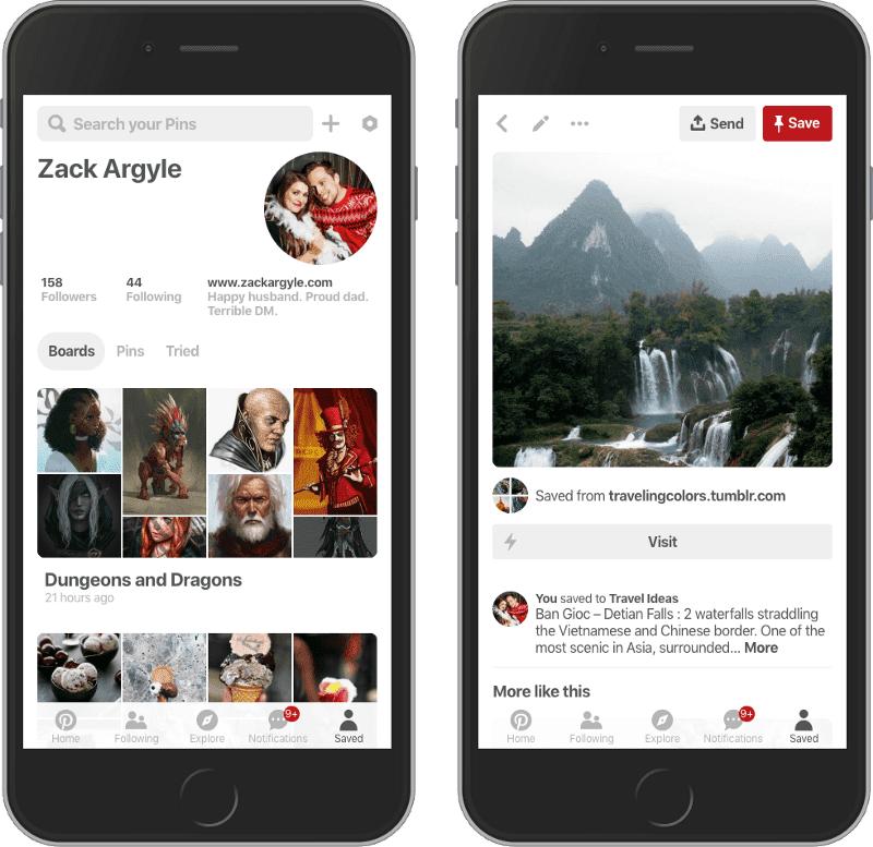 Progressive Web App Pinterest