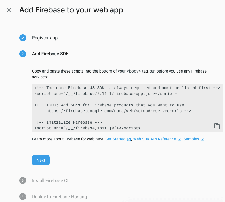 Add firebase to your web app